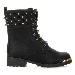 New Wild Diva Women Studded Spike Lace Up Military Combat Boot Timberly 62 Black