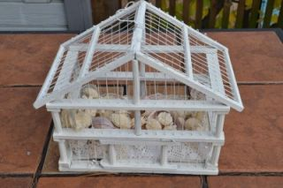 Bird Cage White Decorative Shabby Chic Wood and Wire Shells Bird
