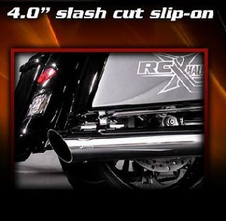 "RC Components Chrome 4"" Slash Cut Slip on Mufflers Harley Street Glide FLHX"