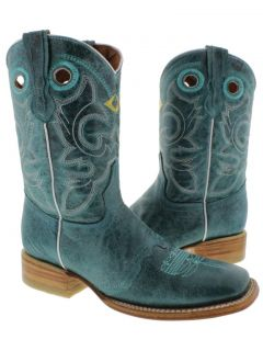 Women's Ladies Turquoise Leather Square Cowboy Boots Western Rodeo Riding Biker