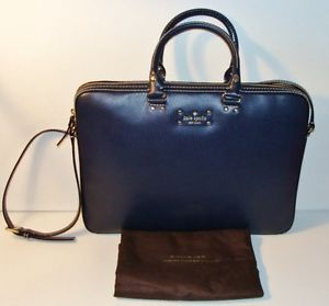 New Kate Spade Navy Leather Briefcase Wellesley Tote Laptop Computer Case