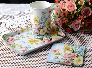 Katie Alice English Garden 'Time for Tea' Mug Coaster Tray Shabby Chic Gift Set