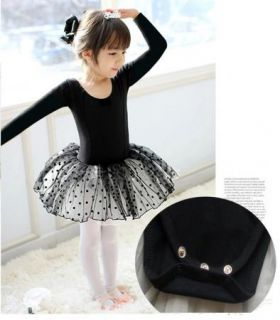 Black Girl Party Long Sleeve Leotard Ballet Tutu Costume Dance Skirt Dress 3 4Y