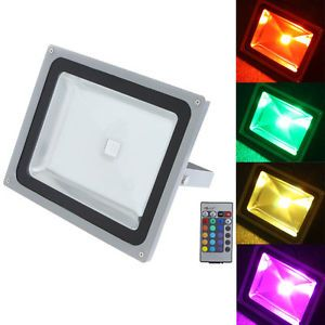50W LED Flood Light RGB Outdoor LED Lamp Color Change Waterproof Remote Control