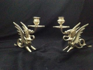 2 Antique Brass Bronze Candle Stick Holder Victorian Dragon Griffin Ornate 1800s