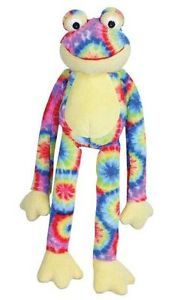 Zanies Woodstock Frog Dog Toy Squeaker Plush Squeaky Toys Small or Large Tie Dye