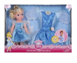 New Disney Princess Cinderella Doll Toddler Girls Dress 2 4T Gift Set