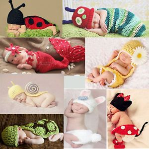 Baby Girl Boy Infant Newborn 12M Knit Crochet Clothes Costume Photo Prop Outfits
