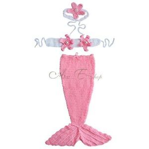 Little Mermaid Newborn Baby Girl Outfit Crochet Knit Tail Costume Photo Props