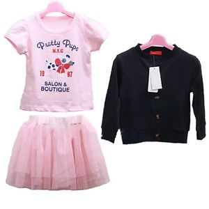 3pcs Sets Girl Baby Kids Top Coat T Shirt Skirt Tutu Outfit Costume Clothes 0 5Y