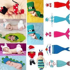Newborn 12M Baby Girl Boy Animals Mermaid Crochet Knit Costume Outfit Photo Prop