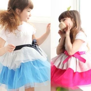 Girls Baby One Piece Dual Color Bow Knot Tutu Dress Party Skirts Costume 2 7Y
