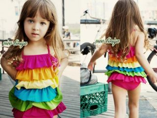 Girls Rainbow Ruffle Layered Swimsuit Swimwear Tankini Swimming Costume 2 7Y