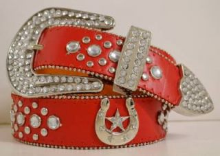 New Rodeo Western Cowgirl Rhinestone Horse Shoe Star Red Leather Buckle Belt