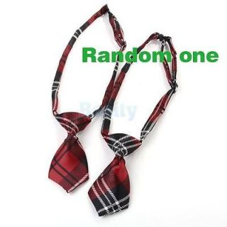 3X Red Grid Puppy Pet Dog Cat Bow Neck Tie Necktie Handsome Tie Clothes Costume