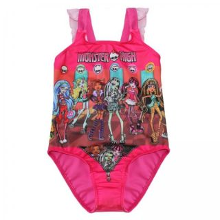 Monster High Skull Girls Swimsuit Swimwear Bathing Suit Swimming Costume Sz 7 8