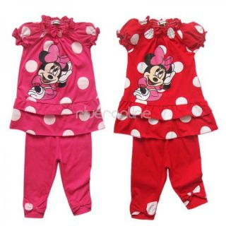 Girls Minnie Mouse Clothes Baby Top Dress Pants Legging Set Summer Outfit Sz 2 6