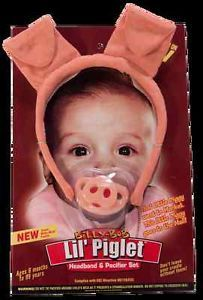 Piglet Pig Pacifier Headband Set Baby Billy Bob Costume