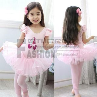 Girl Pink Ballet Dance Leotard Costume Tutu Party Dress Skirt Shoes Age 6 8