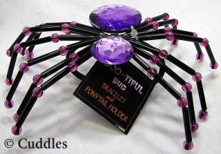Spider Bracelet Pony Tail Holder Bug Purple Halloween Jewelry Fun Fashion New