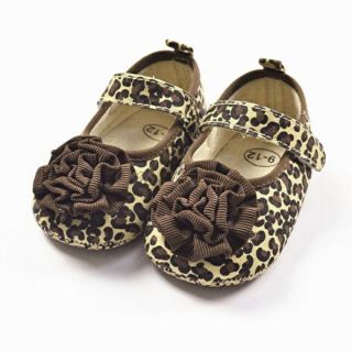 Baby Girl Infant Soft Crib Brown Leopard Flower Velcro Anti Slip Walking Shoes