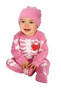 Child Infant Onesie Halloween Costume Pink Skeleton Bones Onesie