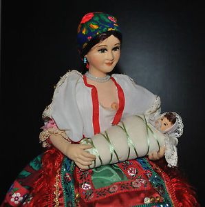 Vintage Russian Ukrainian Polish Doll Woman Baby National Costume Hungarian