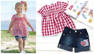 2pcs Sweetly Girl Baby Kid Grid Doll Shirt Denim Pants Clothes Costume 3 4Y