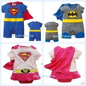 Boys Baby Gro Romper Suit Funky Superman Batman Fancy Dress Costume Outfit Gift
