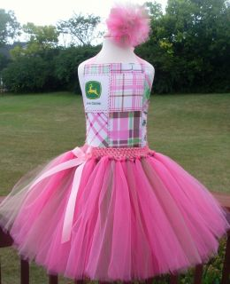 John Deere Tutu Dress Pageant Birthday Costume Easter Pink Green Plaid