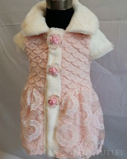 D101 Baby Girl Faux Fur Champagne White Pageant Flower Dress Coat Costume 2 3T M