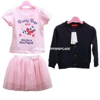 3pcs Kid Toddler Baby Girl Top Coat Tshirt Skirt Tutu Outfit Dress Clothes 0 5T