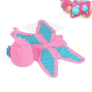 Butterfly Newborn Girl Baby Boy Infant Knit Crochet Clothes Photo Prop Outfit