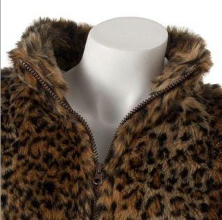 New Fall Winter Trendy Faux Fur Vest Junior Medium Cheetah Say What $48 00