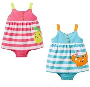 Carters Striped Cute Sunsuit Dress Baby Girl Summer Clothes 6 9 12 18 Months