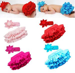 Kid Child Baby Girl Ruffle Skirt Pants Headband Bloomers Nappy Costume 0 36M