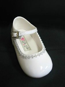 Clear Rhinestone Infant Toddler Baby Girls Dress Shoes Pageant Wedding White