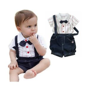 2pcs Baby Boy Top T Shirt Overalls Bib Pants Shorts Outfit Clothes Bow Tie 2 3Y
