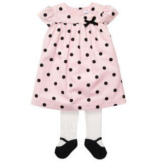 Carter's Girls 2 Piece Polka Dot Dress with Bow and Knit Tights Set zNI