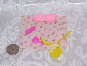 Vintage Barbie Baby Doll Size Lot Blanket Yellow Rubber Clothes Great Condition