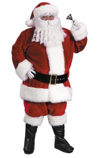 Santa Claus Suit Premium Plush Red Adult Mens Costume Christmas Halloween