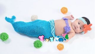 Cute Baby Girl Toddler Infant Mermaid Costume Set Photo Photography Prop 7 18MON