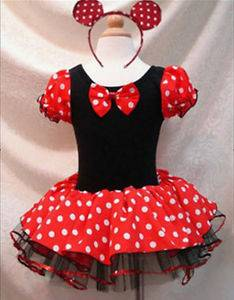 Xmas Polka Dots Minnie Mouse Baby Girl Fancy Party Costume Dress Up Gift Sz 4T