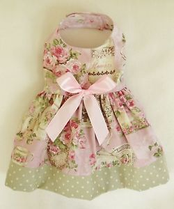 XXXS New Tea Rose Baby Pink and Green Dog Dress Clothes Teacup