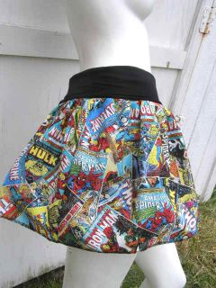 Marvel Comic Books Captain America Thor Iron Man Hulk Retro Skirt Shirt s XL DIY