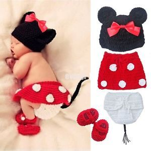 Newborn 12M Baby Girl Boy Crochet Knit Cute Minnie Costume Photo Props Outfits P
