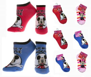 6 Pair Disney Mickey Minnie Mouse Girls Lady Socks Size 9 11 Shoe 4 10 New