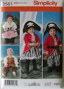 Simplicity Sewing Pattern 2561 Toddler Pirate Pirates Costumes Halloween