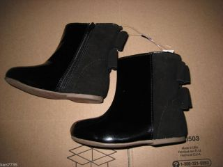 Baby Gap Girls Festive Holiday Black Bow Boots Size 9
