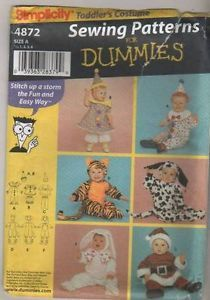 4872 Sewing Pattern Costume Baby Toddler Easy Tiger Bunny Rabbit Clown Santa Dog